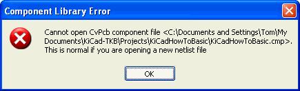KiCad CVpcb, no file warning